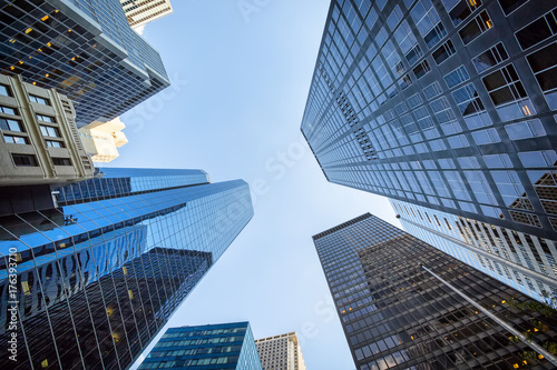 Staande foto London Up view in financial district, Manhattan, New York