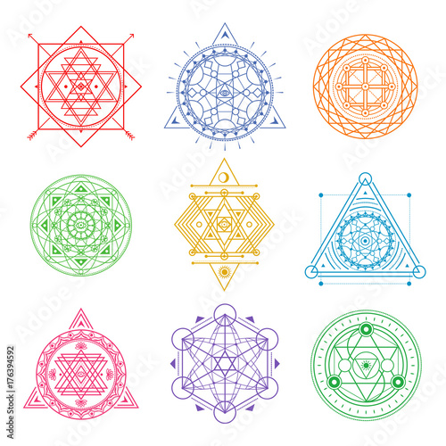 Collection of colored sacred symbols .Vector elements . Fototapete