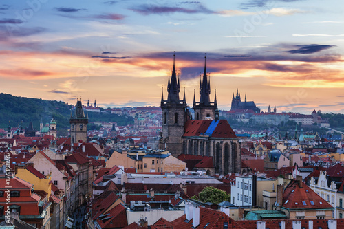 Fotobehang Praag Panorama of Prague with red roofs from above summer day at dusk, Czech Republic
