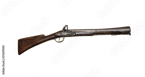 Fotografie, Obraz Ancient musket or pistol isolated on white.