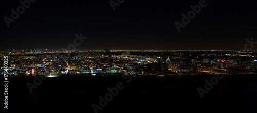 Fototapeta Powietrzna panorama Miami plaża przy nocą