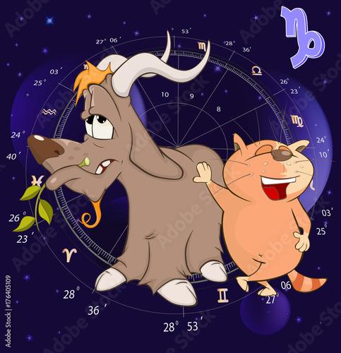 Deurstickers Babykamer Illustration of a Zodiac Signs Capricorn. Cartoon Character