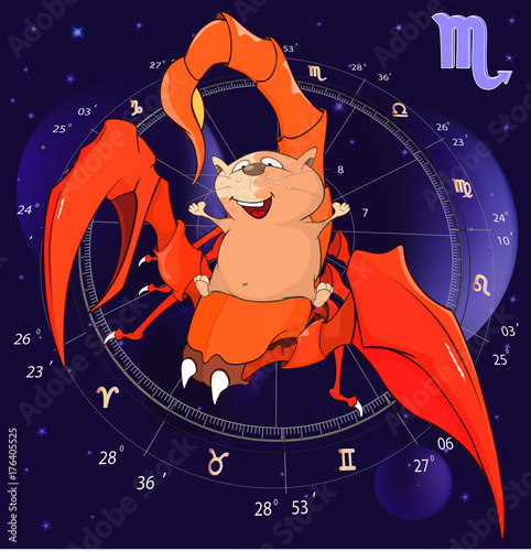 Deurstickers Babykamer Illustration of a Zodiac Signs Scorpio. Cartoon Character