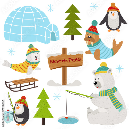 Photo  set of isolated arctic elements part 2  - vector illustration, eps