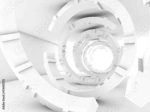 Abstract white tunnel interior, 3 d render
