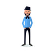 funny and cool cartoon guy in casual clothes, gesturing. Vector illustration