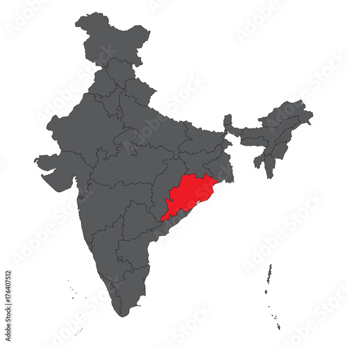 Orissa on gray India map vector Tapéta, Fotótapéta