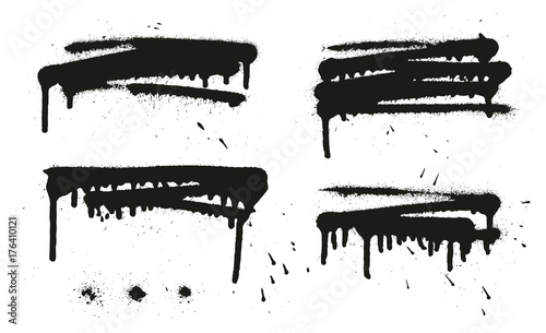 Photo  Spray Paint Abstract Vector Backgrounds, Lines & Drips Set 16