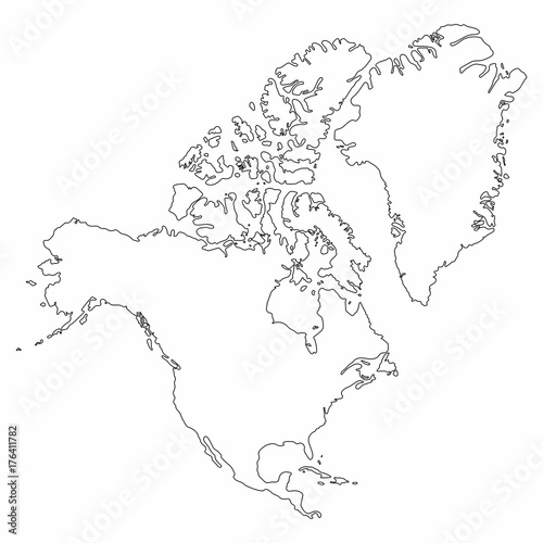 North America map outline graphic freehand drawing on white ... on