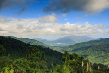 Green Tropical Forest Hill Slopes And Valley In Vietnam