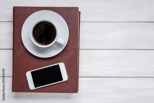 Poster Cafe A cup of black coffee. Hot invigorating drink. Morning. For your design