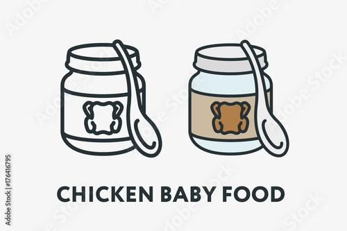 Chicken Baby Kid Children Food Nutrition Puree Glass Can Jar With