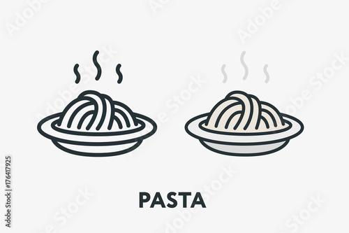 Hot Italian Pasta Bowl Dish Spaghetti Noodles Minimal Flat Line Outline Colorful Slika na platnu