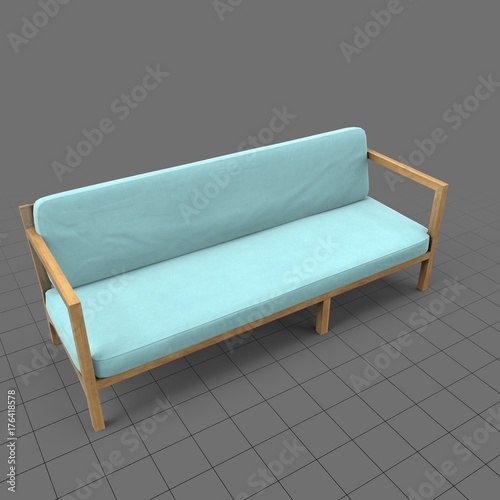 Wood patio couch with cushions  Buy this stock 3d asset and