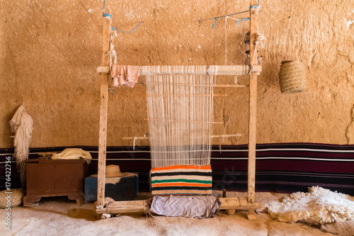 Hand loom in a berber cave house Canvas Print