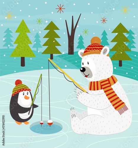 Polar bear and penguin on fishing - vector illustration, eps Wallpaper Mural