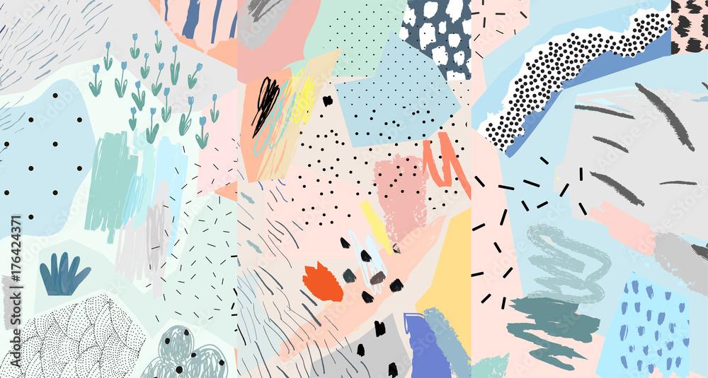 Fototapety, obrazy: Creative artistic background. Trendy illustration. Collage. Modern art header