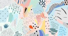 Creative Artistic Background. Trendy Illustration. Collage. Modern Art Header