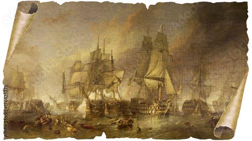 Seeschlacht von Trafalgar auf vergilbtem Papyrus