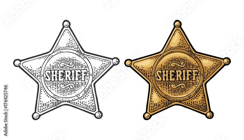 Sheriff star. Vintage black and color vector engraving Canvas-taulu