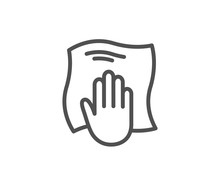 Cleaning Cloth Line Icon. Wipe...