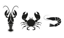 Shrimp, Crawfish And Crab Icon...