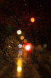 Street Lights Through a Wet Car Window in a Rainy Night in New York