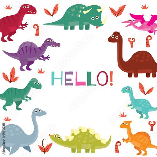 Cute Dinosaur Birthday Greeting Card Design Template