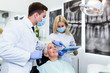 Beautiful senior woman receiving a dental treatment.