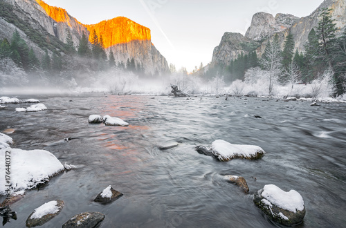 winter sunset in Yosemite Valley Poster