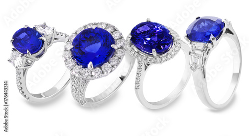 Leinwand Poster sapphire rings with white and blue diamonds and gems,  classic jewelry with gems