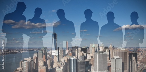 Photo Composite image of silhouettes