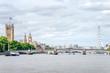 Big Ben, Westminster Bridge, Riverside View By The River Thames
