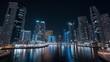 Night timelapse in Dubai Marina