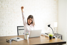 Excited Woman In An Office