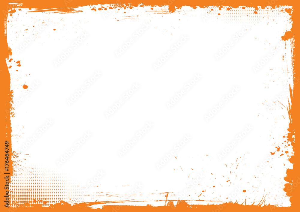 Fototapeta horizontal orange and black Halloween background, grunge border