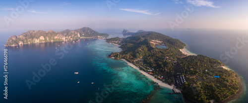 High Aerial Panorama Over Long Beach And Ton Sai, Phi Phi Islands, Thailand Canvas Print