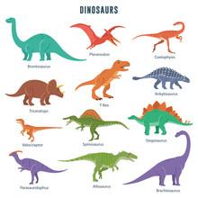 Set Of Dinosaurs Including T-rex, Brontosaurus, Triceratops, Velociraptor, Pteranodon, Allosaurus, Etc. Isolated On White