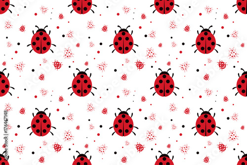 obraz lub plakat Seamless pattern with abstract ladybugs
