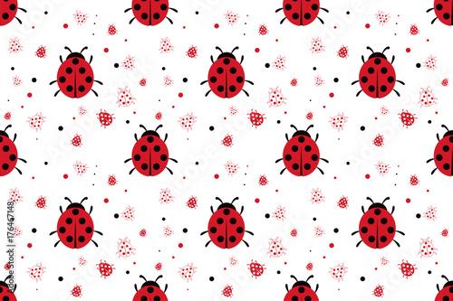 fototapeta na ścianę Seamless pattern with abstract ladybugs