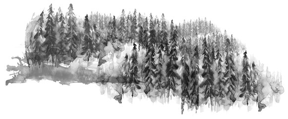 Watercolor group of trees -...