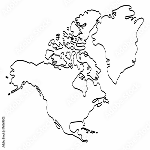 North America Map Template.North America Map Outline Graphic Freehand Drawing On White