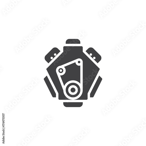 Canvastavla Car engine icon vector, filled flat sign, solid pictogram isolated on white