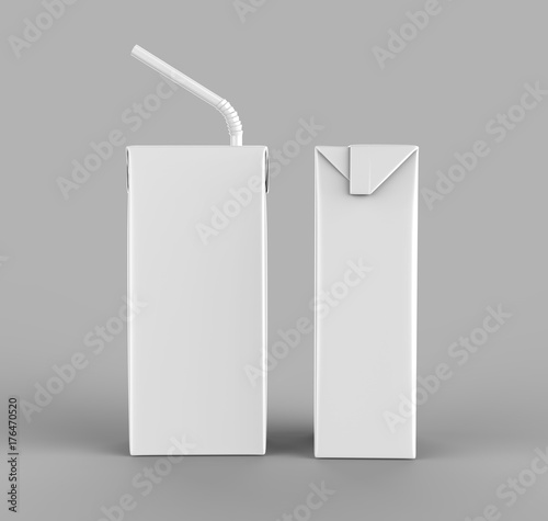 Leinwand Poster Blank Tetra Packet Carton Juice & milk pack with straw White Realistic Rendering for mock up template design