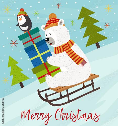 Photo  Merry Christmas card with polar bear and penguin on sled - vector illustration,