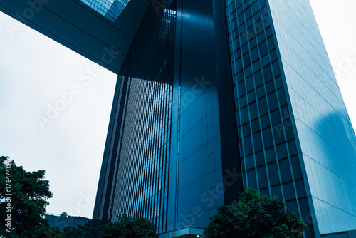 architectural complex against sky in downtown shanghai,china. Poster