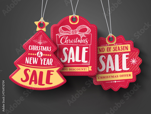 Fototapeta Red Christmas sale paper tags vector set with different shapes and hand drawn elements in red color hanging with discount text for christmas holiday shopping promotion. Vector illustration.  obraz