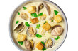 Bowl of clam chowder soup, overhead closeup, isolated