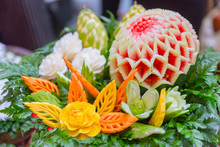 Thai Traditional Food Decoration Culture Fruit Carved Shape Beautiful Flowers