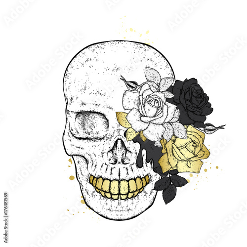 In de dag Art Studio Stylish skull with beautiful roses. Fashion & Style. Vector illustration for a postcard or a poster, print for clothes.